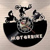 Reloj de pared de moto Super Bike Sport Race Speed Motocicleta Riders Regalo Vinilo Record Wall Clock Dirt Bike Decoración del hogar Jinetes Regalo