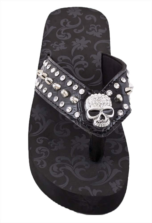 New Wave Women's Skull Rhinestone Studded Flip Flops