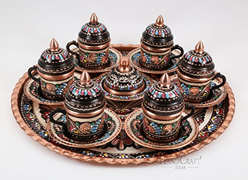 Traditional Design Handmade Copper Turkish Arabic Armenian Coffee Set Espresso Set Tea Set for Six-(CS6-110)