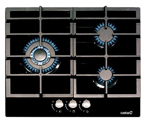 CATA Modelo LCIB 6021 BK | Encimeras butano 3 Fuegos | Cocina de Gas | Ancho de 58 cm | Parrillas/Quemadores Hierro Fundido | Potencia 6,25 kW, 1000 W, Glass, Negro