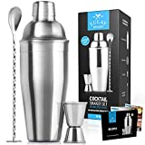 Zulay Kitchen professionelle Cocktail Shaker mit zubehör - Sleek Martini Shaker mit Mess Jigger & rührlöffel - Drink Shaker bar Set integriertes sieb - 24 oz-streuer-Set - Best bar war