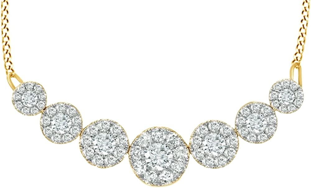 AFFY White Natural Diamond Seven Circle 10K 2021 autumn and winter new Go Necklace Solid 5% OFF in