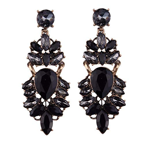 Black metal diamond earrings, vintage crystal leaf earrings, sexy flower earrings