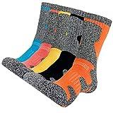 KONY Womens Cotton Full Cushioned Hiking Socks, 5 Pack Moisture Wicking Outdoor Trekking Crew Socks (Mix-3, Medium (US Shoe Size 6-8.5))