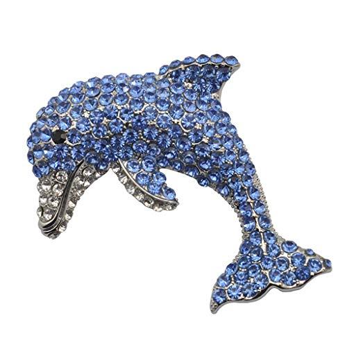 Gaorb Frauen-Brosche, Weibliche Legierung Brosche mit Blue Diamond Dolphin Tiere Dripping Öl, Damen Big Kleidung Assembly Pin 7.5 * 5.5cm