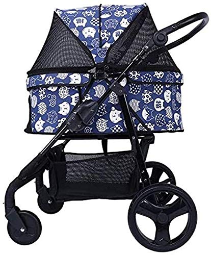 MTCWD Pet Trolley Pet Stroller for Puppy Roadster Easy Foldable Three Wheels Travel Pet Jogger Max Loading 30 Kg (Color : Blue)