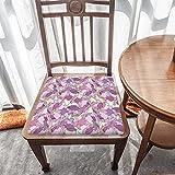 Cojín de asiento para silla, espuma de memoria, patrón de pétalo púrpura, cojines de asiento para oficina, hogar o coche sentado
