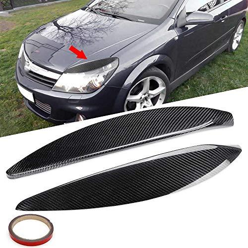 JXSMQC Paar, auto koplamp wenkbrauwen koolstofvezel koplamp oogleden deksel sticker.Voor Opel/Vauxhall/Astra H MK5 2004 2009 Koplamp Wenkbrauw