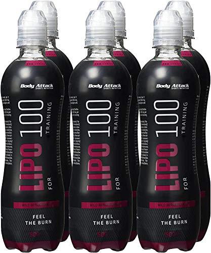 Body Attack Lipo 100 Drink, Premium Fatburner Drink für schnelles Abnehmen zum Sport & als Diät Support, zuckerfrei mit Koffein, Taurin & L-Carnitine, Made in Germany, (6x 500ml + Pfand) (Wild Berry)