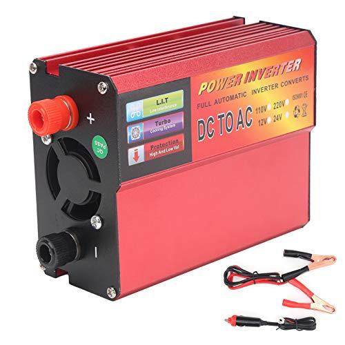 Yctze Convertidor de energía, DC 24V a AC 220V 300W Inversor de energía inteligente Convertidor Puerto USB Indicador LED Pantalla digital
