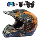 DNACC Off Road Helmet ATV Integralhelme Motocross Helme Fahrradhelme DOT-Zertifizierung Cross Helme mit Abnehmbare Earmuffs Zur Sicherheit des FahrersGeeignet für Kinder und Erwachsene,XL
