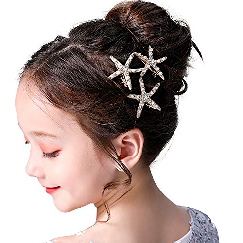 3 Pcs Starfish Hair Clip Bridal Flower Girl Accessories for Wedding