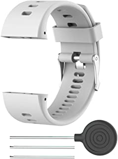 Band for Polar V800, Soft Adjustable Silicone Replacement Wrist Watch Band for Polar V800 GPS Sports Watch, Repair Tool Include(White)