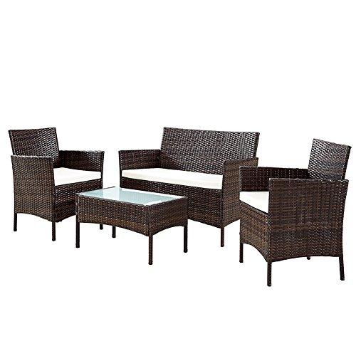 BAKAJI Juego Centro Completo de sofá 2sillones y Mesa de Cristal y Poly Rattan Estructura de Acero con Almohadas sfoderabili Muebles Jardín Terraza, marrón