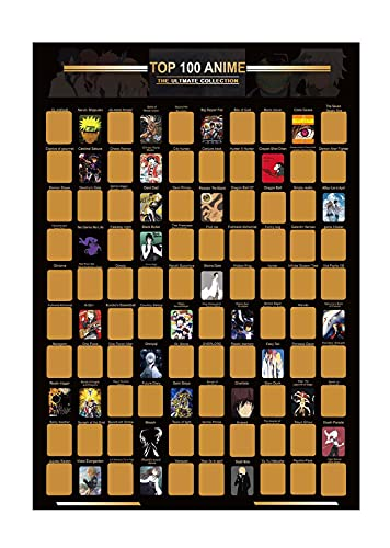 GOMHWAOL Top 100 Anime Scratch Posters From Scratch Posters - Anime Poster Bucket List - Gifts for Anime Lovers(16.5Inches X 23.4Inches)