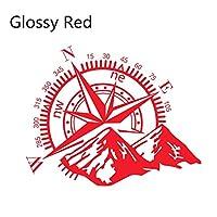車ステッカー カーアクセサリ 2個車のドア横ステッカービニールフィルム自動デコレーションステッカーコンパス防水SUVのスタイリング自動車カーチューニングアクセサリー DIYステッカー (Color Name : Glossy Red, Style : 50CMx40CM)
