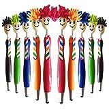 DEDC Kit de 10 Piezas Trapeador Bolígrafos Multicolor Plumas de Limpiador de Pantalla Stylus pen 3-en-1 Stylus Pen Plumero para Estudiante Niños Adultos Regalo de Cumpleanos