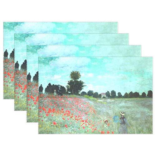 Reredith Tischsets 6er Set, Mohnblumen Claude Monet Art Holiday Tisch Tischsets