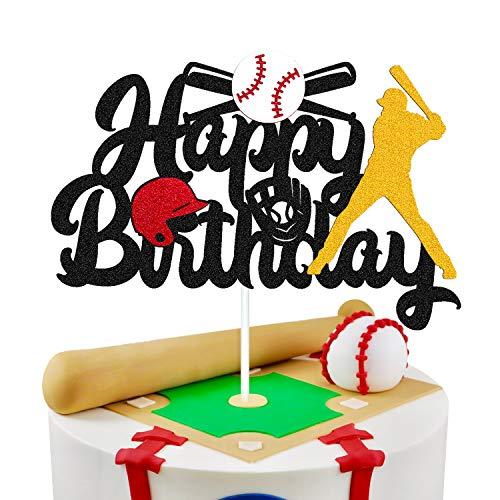Baseball Cake Decorations Happy Birthday Baseball Softball Player Cake Topper for Man Boy Girl Sport Themed Bithday Party Supplies Glitter Black Décor (Double Sided)