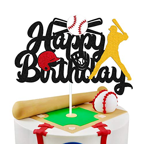 Baseball Cake Decorations Happy Birthday Baseball Softball Player Cake Topper for Man Boy Girl Sport Themed Bithday Party Supplies Glitter Black Décor (Double Sided)