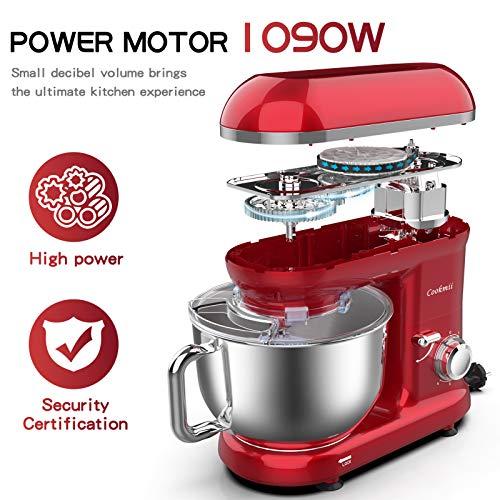 Cookmii Küchenmaschine 1090 Watt Knetmaschine Rührmaschine Teigmaschine Rührgerät, 5,5 Liter-Rührschüssel, 6-stufige Geschwindigkeit Rot - 5