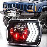 QQKLP 2 pièces 5X7 Seam avec Faisceau Blanc DRL Orange et Fond séquentiel Tourner la lumière de Signal pour Jeep Cherokee XJ Wrangler YJ GMC Truck 7X6 LED Phares