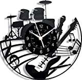 Reloj de pared de vinilo 3D con diseño de guitarra, color negro, silencioso, 30 cm, decoración de arte vintage para sala de estar moderna