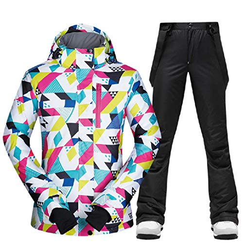 SR-Keistog Women Winter Jackets And Pants Warm Waterproof Jacket Outdoor Snowboard Cycling Camping CSJ 1905 BLACK M