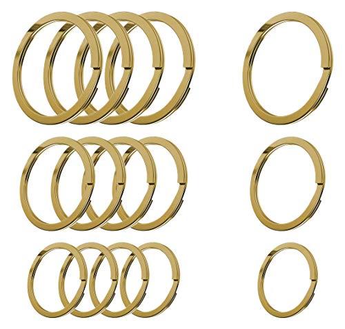 Cerbery - Juego de Llaveros de Acero Endurecido - 5 x 30 mm, 5 x 25 mm, 5 x 20 mm - Llavero de Anillo (Oro)