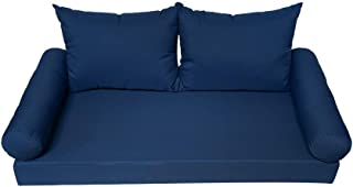 PROLINEMAX 5 Pc Blue 75x53x6 Full Size Mattress Bolster Back Pillows Seat Cushion Cover Porch Patio Swing Bed in/Out Door Polyester