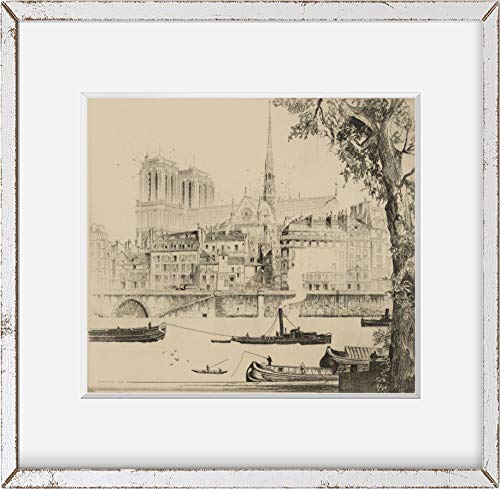 Foto: Notre Dame de Paris, Francia, Catedral, 1925, John Taylor Arms, Barcos, Canal. Tamaño: 8 x 10 (AP)