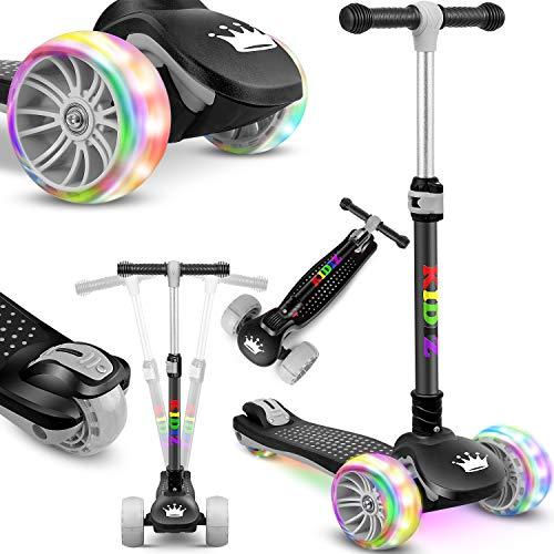 KIDIZ® Roller Kinder Scooter X-Pro2 Dreiradscooter mit PU LED Leuchtenden Räder Kinderroller faltbar Tret-Roller höhenverstellbarer Cityroller Kinderscooter für Jungen Mädchen 3-12 Jahre, Schwarz