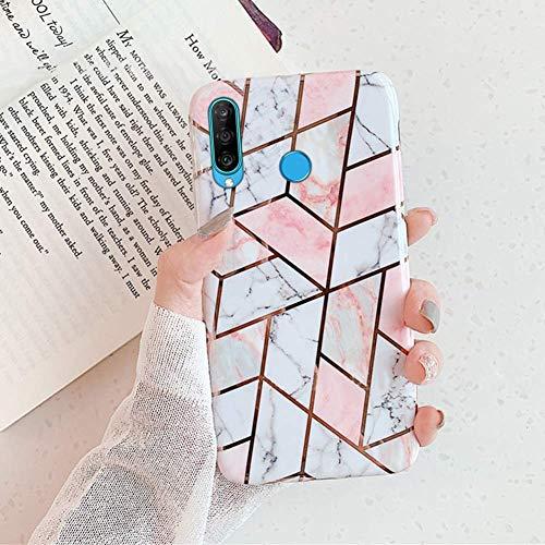 Herbests Kompatibel mit Huawei P30 Lite Handyhülle Marmor Matt Marble Muster Schutzhülle Dünn Handytasche Glitzer Glänzend Ultradünn Transparent Durchsichtige Silikon Hülle Case,Pink Weiß
