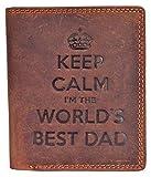 Billetera de cuero de Starhide con bloqueador de RFID, con la frase en inglés «Keep Calm I 'm The World' s Best Dad». Para hombre, de cuero genuino, con bolsillo para monedas y caja de regalo, 705 (marrón)