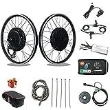 RICETOO Kit de conversión de Bicicleta eléctrica 48V 1500W 2024 2627.5 2829700C Rueda Trasera de Cassette E-Bike Ciclismo Hub Motor con Pantalla KT-LED880 (48V 1500W 20inch)
