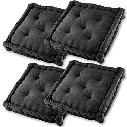 Gräfenstayn® Set de 4 Coussins d'Assise Coussins de Chaise 40x40x8cm pour intérieur et extérieur - 100% Coton - Différents Coloris – Rembourrage épais (Noir)