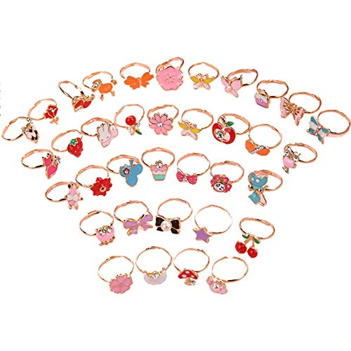 Yushu 36 Pcs/set Cartoon Children Rings Flower Animal Adjustable Alloy Kids Ring Dress Up Rings Jewelry Girl Pretend Play Rings Little Girls Gift