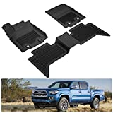 KIWI MASTER Floor Mats Compatible for 2018-2021 Toyota Tacoma Accessories Double Cab Crew Cab All Weather Mat Liners Front & 2nd 2 Row Seat TPE Slush Liner Black