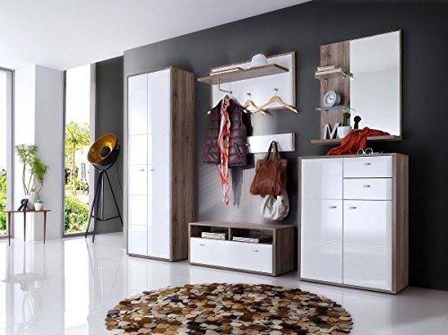 lifestyle4living Garderoben-Set in Hochglanz Weiß, Eiche San-Remo, 270 cm | Flur-Garderobenset mit Garderoben-Schrank, 2 Garderoben-Paneel, Sitzbank, Spiegel & Kommode