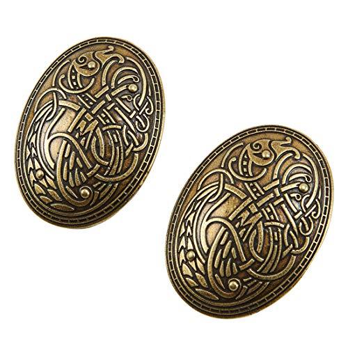 KOGOGO Viking Turtle Brooches Norse Dress Apron Pins(Bronze,2PCS)