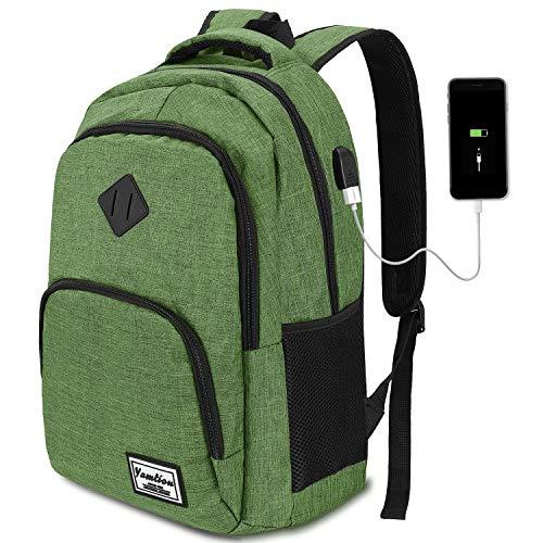 YAMTION Zaino PC 15.6 Pollici Zaino per Laptop con Porta USB Ufficio Scuola Viaggio Impermeabile (15,6 Pollici, B6-Verde dell'Esercito)