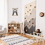payé Teppich Kinderzimmer - Cream - 80x150 cm - Abstrakt Berge Pastellfarben - Geometrisch Dreieck- Kurzflor Kinderteppich - Spielteppich - Oeko-Tex Standard 100