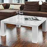 Couch-Tisch weiß Hochglanz aus MDF 90x90cm quadratisch | Lucky | Schicker Wohnzimmer-Tisch in Angesagter Hochglanz Lackierung Weiss 90cm x 90cm