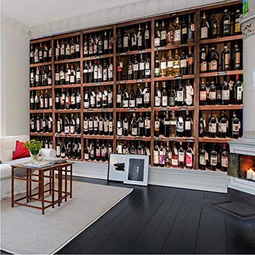 Xzfddn Estilo europeo 3D papel pintado moderno vino tinto botellas de madera vino estante foto murales cafetería bar restaurante telón de fondo papel de pared