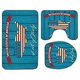 3Pcs Alfombra de baño antideslizante Juego de tapa de tapa de asiento de inodoro Mapa de EE. UU. Alfombrilla de baño antideslizante suave Estados Unidos de América Icono temático del cuatro de julio s