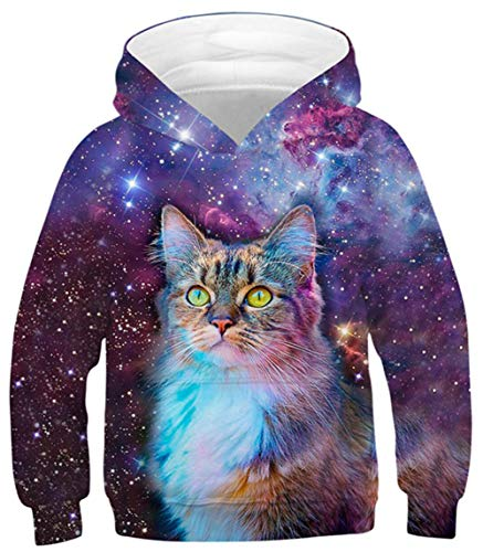 UNICOMIDEA Galaxy Hoodies for Boys 10-12 Cute Space Cat Pullover Sweatshirt Winter Autumn Warm Long Sleeve Pullover Jumpers for Outdoor Activities