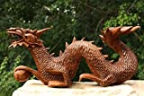 "G6 Collection Wooden Crawling Dragon Handmade Sculpture Statue Handcrafted Gift Art Decorative Home Decor Figurine Accent Decoration Artwork Hand Carved Dragon (12"" Long)"