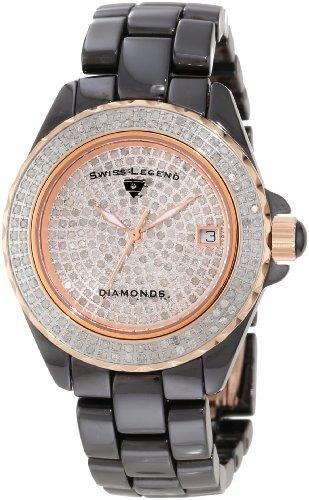Swiss Legend Women's 20052-WBKR Diamonds Pave Diamond Dial Gunmetal Ceramic Watch