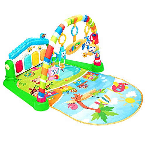 Christoy Baby Kick and Gym Play Mat Lay & Play 3 in 1 Fitness Music and Lights Fun Piano Activity Mat Infant Newborn Toys Girl Boy (Green)