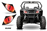 AMR Racing UTV Headlight Eye Graphics Decal Cover Compatible with Arctic Cat Wildcat Sport - Eclipse Red